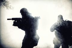 Black silhouette of soldier Stock Images