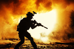 Black silhouette of soldiers Stock Image