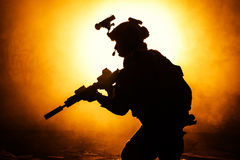 Black silhouette of soldiers Royalty Free Stock Images
