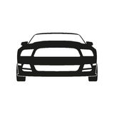 Black silhouette of a sports car on a white background. Front vi stock illustration