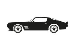 Black silhouette of a sports car on a white background Royalty Free Stock Image