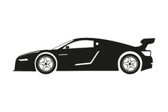 Black silhouette of a sports car on a white background Royalty Free Stock Photo
