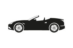 Black silhouette of a sports car on a white background Stock Image