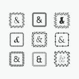 Black silhouette square leaves border pattern emblems set Stock Photography