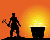 Black silhouette of a steelworker. On an orange background Stock Photos