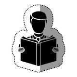 black silhouette sticker with man reading a book Stock Images