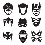 Black silhouette of superheroes masks. Vector monochrome illustrations set  Stock Photography
