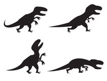 Black Silhouette of T-rex and Velociraptor. In movement, angry,run, roar and hunting Royalty Free Stock Photography