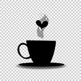 Black silhouette of  cup with steam and heart on transparent. Black silhouette of tea or coffee cup with steam and heart  on transparent  background. Vector Royalty Free Stock Images