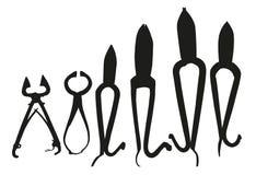 Black silhouette of tools Stock Photo