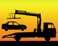 Black silhouette of a tow truck Stock Photo