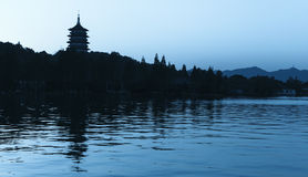 Black silhouette of traditional Chinese pagoda Stock Photo