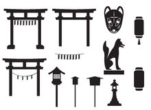 Black silhouette traditional object in japan, japan gate and mo Stock Photography