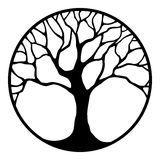 Black silhouette of a tree in a circle. Vector illustration.