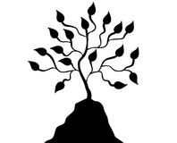 Black Silhouette Tree on Hill stock illustration