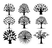 Black silhouette tree vector logo design set. Black silhouette tree vector logo design template set royalty free stock photo