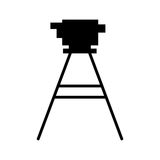 Black silhouette tripod for surveying Stock Photography