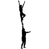 Black silhouette two acrobats show stand on hand. Vector illustration Stock Image