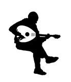 Black silhouette vector of musician playing the oud guitar musical instrument Stock Photos