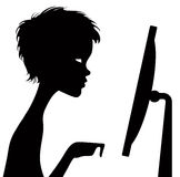 Black silhouette of a watching person with a telescope. Royalty Free Stock Image
