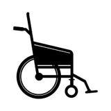 Black silhouette wheelchair flat icon Stock Photos
