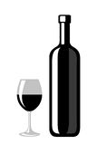Black silhouette of wine bottle and glass. Royalty Free Stock Image