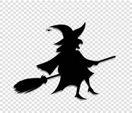 Black silhouette of witch fly on broomstick on transparent background. Black silhouette of witch in hat and costume flying on broomstick on transparent vector illustration