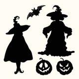 Black silhouette witches, pumpkin lanterns and bat vector illustration