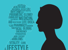 Black silhouette of woman's profile covered with medical scien Royalty Free Stock Image