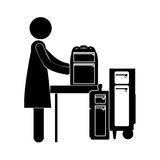 Black silhouette woman with baggage Royalty Free Stock Image