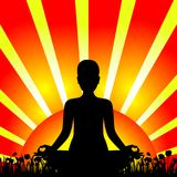 Black silhouette of woman in meditation pose at the sunset or sunrise. Stock Photography