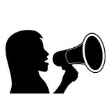 Black silhouette of woman with megaphone. Stock Photo