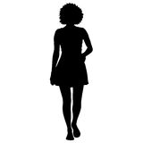 Black silhouette woman standing, people on white background.  stock illustration