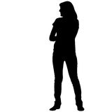 Black silhouette woman standing, people on white background.  royalty free illustration