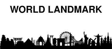 Free Black Silhouette World Landmark White Background Royalty Free Stock Photo - 111003995