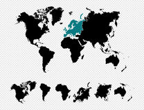 Black silhouette  World map EPS10 vector f Stock Image