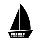 Black silhouette yacht flat icon. Illustration royalty free illustration