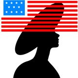 Black silhouette of  young beautiful girl Royalty Free Stock Photography