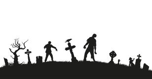 Black silhouette of zombies on cemetery background. Nightmare landscape with dead people. Panorama of undead monster. And gravestone. Halloween vector Royalty Free Stock Photos