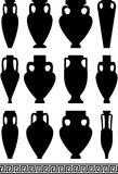 Black silhouettes of ancient amphorae and vases Stock Images