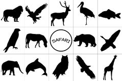 Black silhouettes of animals. Royalty Free Stock Photos