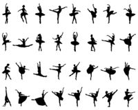 Black silhouettes of ballerinas. On white background, vector royalty free illustration