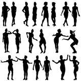 Black silhouettes of beautiful girls in stewardess Royalty Free Stock Photos