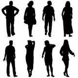 Black silhouettes of beautiful man and woman on white background. Vector illustration.  vector illustration