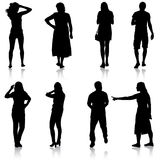 Black silhouettes of beautiful man and woman on white background. Vector illustration Royalty Free Stock Photos