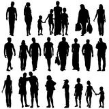 Black silhouettes of beautiful mans and womans on Royalty Free Stock Photos