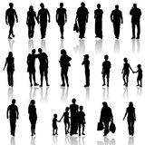 Black silhouettes of beautiful mans and womans on Royalty Free Stock Images