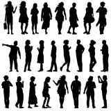 Black silhouettes of beautiful mans and womans on Stock Photo