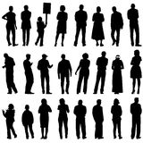 Black silhouettes of beautiful mans and womans on Stock Images