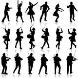 Black silhouettes of beautiful mans and womans. Drummer, violini. St and acrobat on white background. Vector illustration Stock Photo